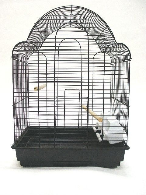 Features:  -Pull out door.  -Two feeder doors and two cups.  -Two perches.  -Easy clean removable metal grate.  -Easy clean slide out bottom plastic tray.  -Non-toxic epoxy.  Cage Material: -Steel. Di