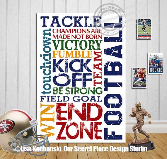 Inspirational Football Decor Inspirational Teen Wall Art Motivational Sports Décor Sports Signs for Boys Room by OurSecretPlace