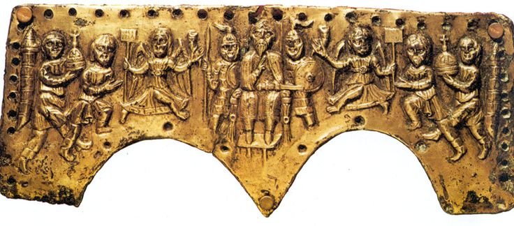 VI and VII century, front panel of the lombard king Agilulf parade helmet (Florence, Bargello National Museum)