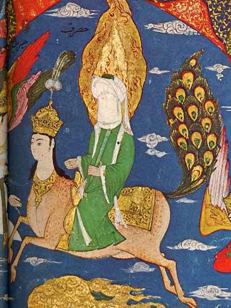 Another image of Mohammed riding Buraq up to heaven. Provenance unknown; taken from the same site as above.