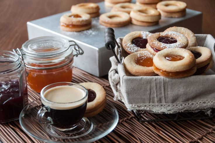 Delicious cookies filled with jelly. Ideal recipe for breakfast or brunch. You can serve them with coffee or a cuppa tea! #cookies #breakfast #dessert #recipeoftheday #akispetretzikis