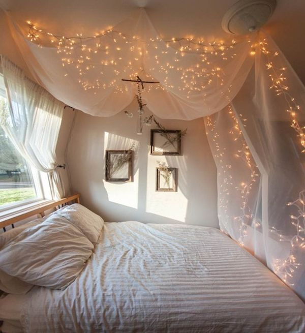canopy bed curtains with lights