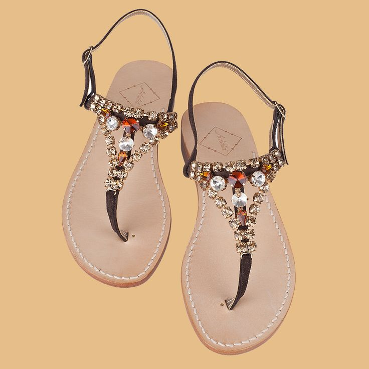 Charlie sandals in chocolate brown suede with Swarovski crystals in 3 colours. Choose flats or a little 2cm heel. Worldwide shipping  #ankaliadesigns #charliesandals #swarovskisandals