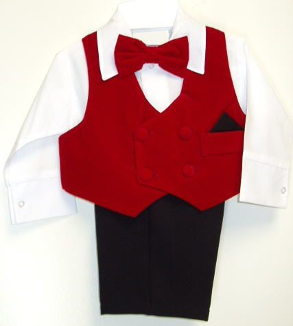 Red Ring bearer suit for holiday weddings