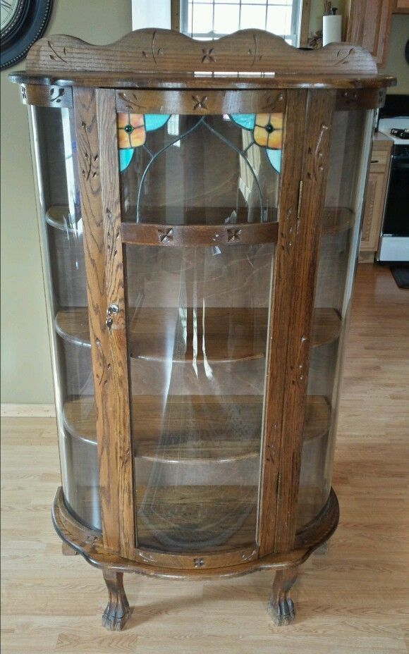 curved glass front curio cabinet 2