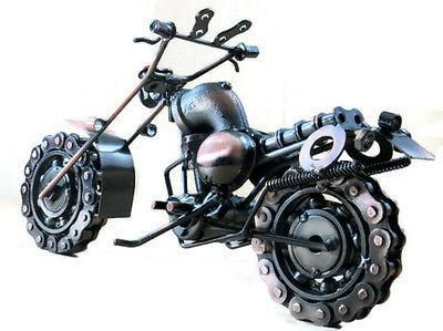 "Metal Motorcycle Sculpture -11"" Die Cast Copper Chopper Chainwheel Collectible"