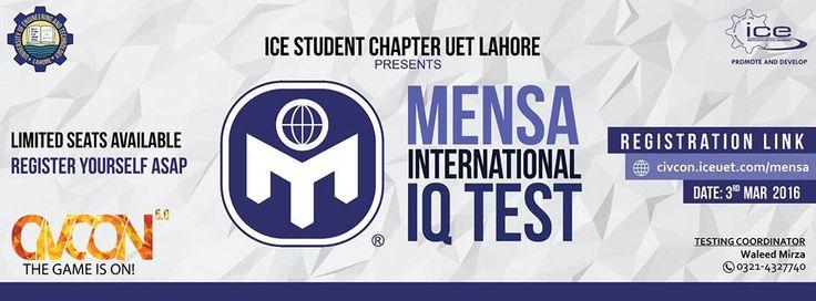 Mensa International IQ Test in Lahore  http://allevents.pk/events/Mensa-International-IQ-Test-in-Lahore  #Educational #IQTest #MENSA #UET #LahoreEvent