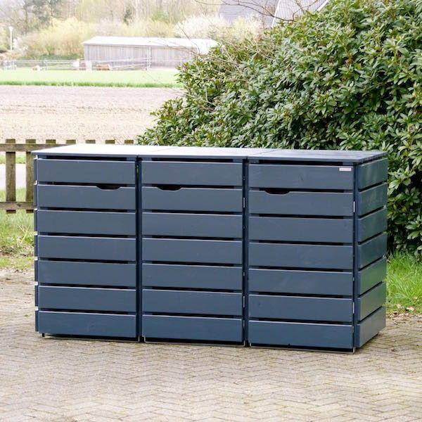 3er Mülltonnenbox Holz, Anthrazit Grau