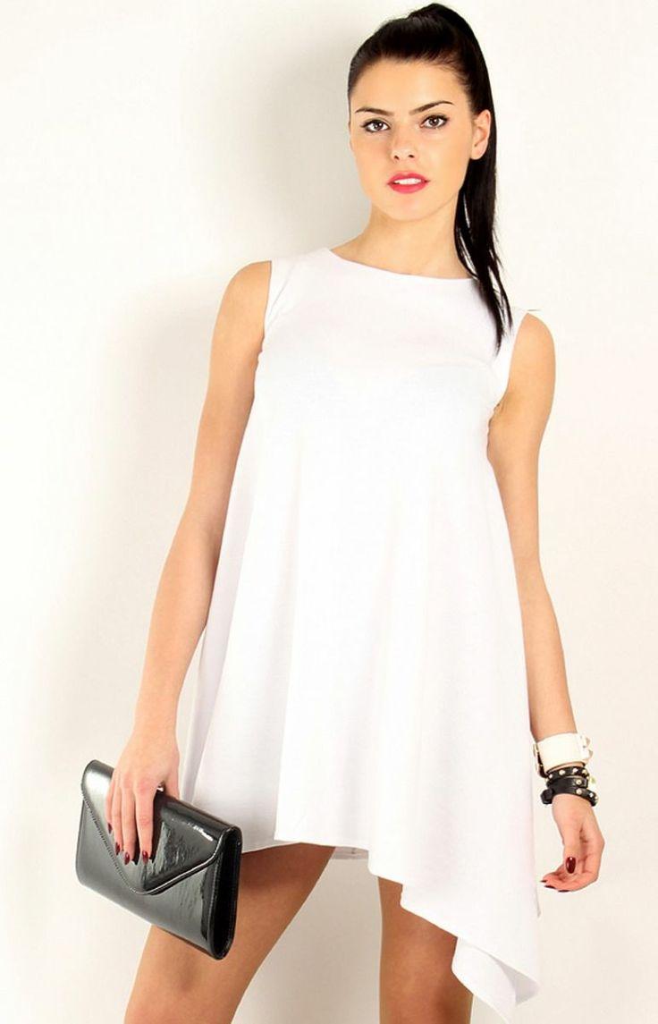 Makadamia M46 sukienka biała Sukienka bez rękawka, rozkloszowany, asymetryczny krój