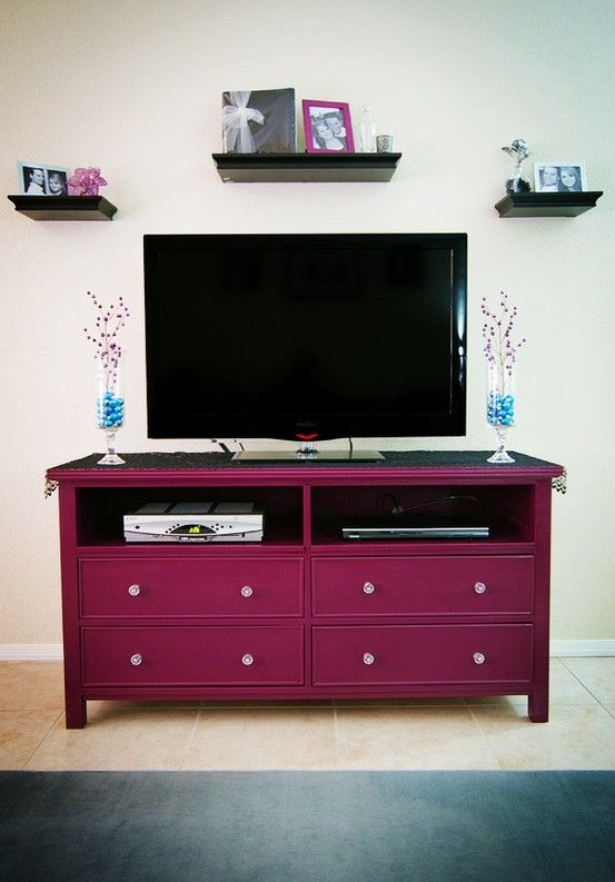 Dresser turned tv stand - not the color but love the idea!!
