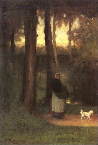 """""""Κυρία με σκυλάκι στο δάσος"""", Ιακωβίδης"""