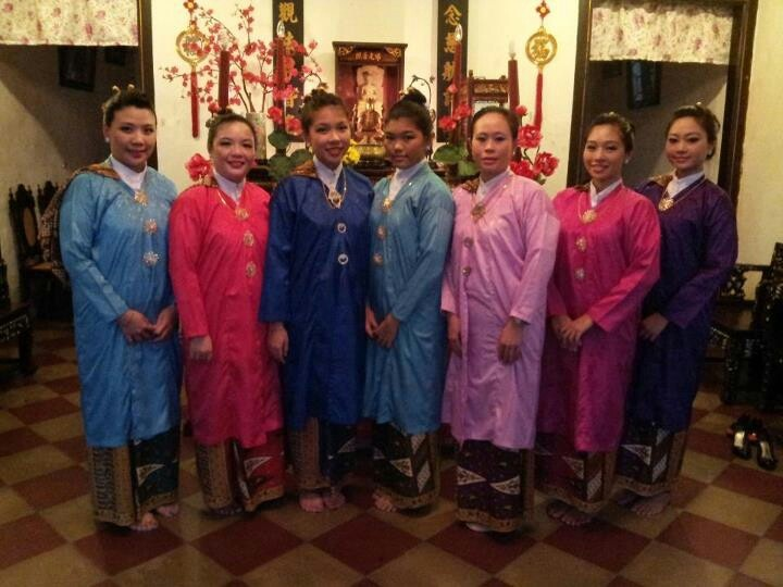 "2012....Young Straits-Chinese ladies showing off the ""Kebaya Panjang"" or long blouse that their Great-Grandmothers wore a century ago."