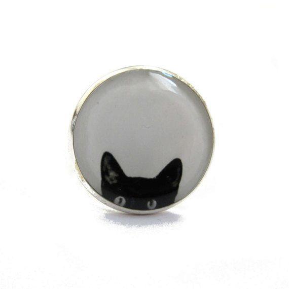 Black Cat ring, Peeking Cat ring, cat ring, cat jewelery, black cat ring, cats, black and white statement ring, peeking cat