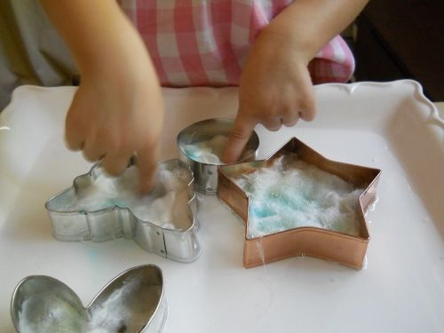 Cookie cutter wet felting for kids
