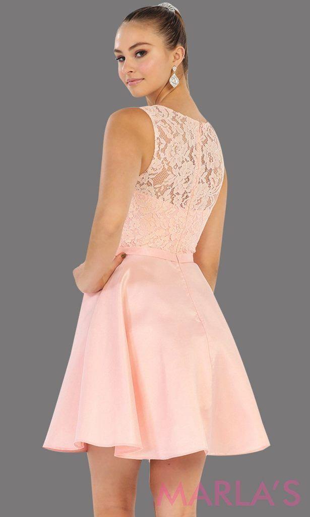 46ddd5519ee Short High Neck Flowy Blush Pink Dress 1422.13S - MarlasFashions – Marla s  Fashions