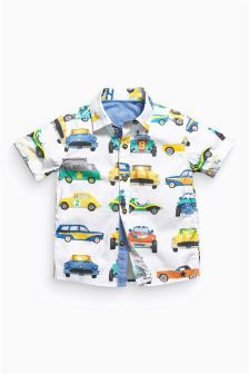White Car Print Shirt (3mths-6yrs):