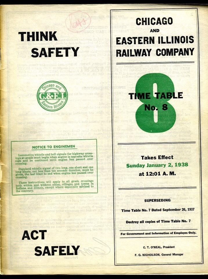 C. Chicago Eastern Illinois Railroad - Employee Timetable 30 Pages - 1938.
