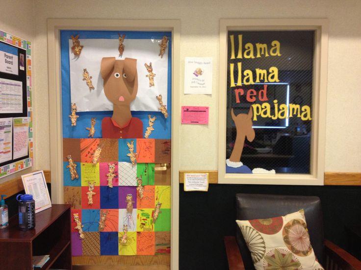 PreK Door Decoration. Quilt and fuzzy llamas made by students. #Llama Llama Red Pajama #Llama Llama Books