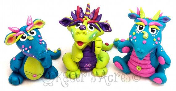 Polymer Clay Dragons | Handmade, Limited Edition Collectibles by KatersAcres