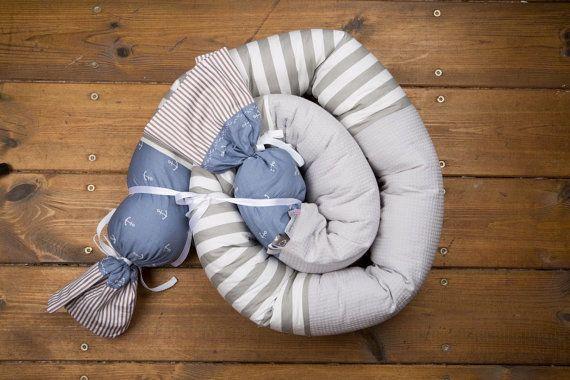 Baby Boy paraurti decorazione blu e grigio della di BandanaShop