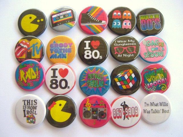 Totally 80's Party Theme Party Favors set of 20 1.25 inch Pin back Buttons 1980's party theme by PutOnYourPartyCap on Etsy https://www.etsy.com/listing/154161492/totally-80s-party-theme-party-favors-set