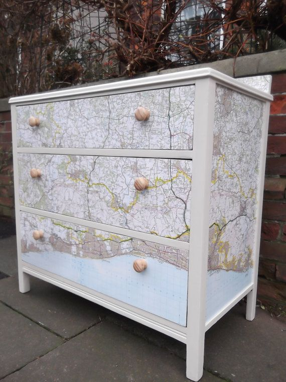 Lebus drawers with continuing map of Brighton & Hove seafront & surrounding areas