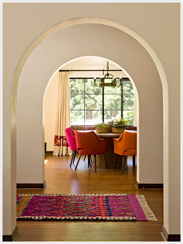 spanish styleInterior Design, Dining Room, Dining Chairs, Interiors Design, House, Rugs, Mediterranean Home, Bright Colors, White Wall