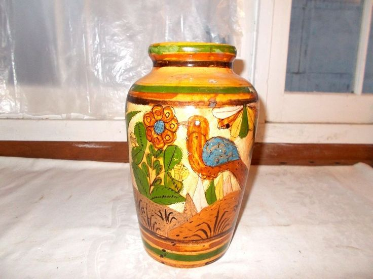"""Mexican Pottery Vase 11"""" Bird Floral Palm Tree Plant"""