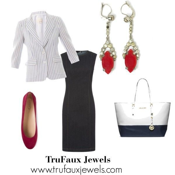 """These fun vintage Art Deco earrings in """"lipstick red"""" glass add a punch of red to this navy-and-white outfit. The denim sheath is the perfect blank canvas for showing off vintage costume jewelry."""