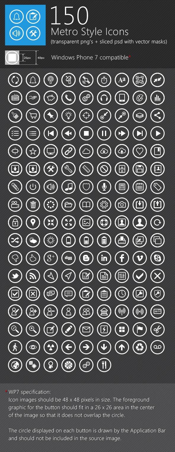 150 Metro Style Icons | #design #mobile #ux #ui #iconss
