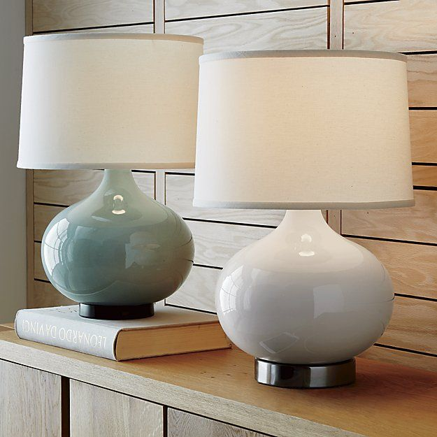 Merie Ivory Table Lamp with Outlet | Crate and Barrel