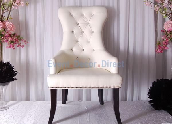 Crystal Studded White Bride And Groom Chair Pair Event