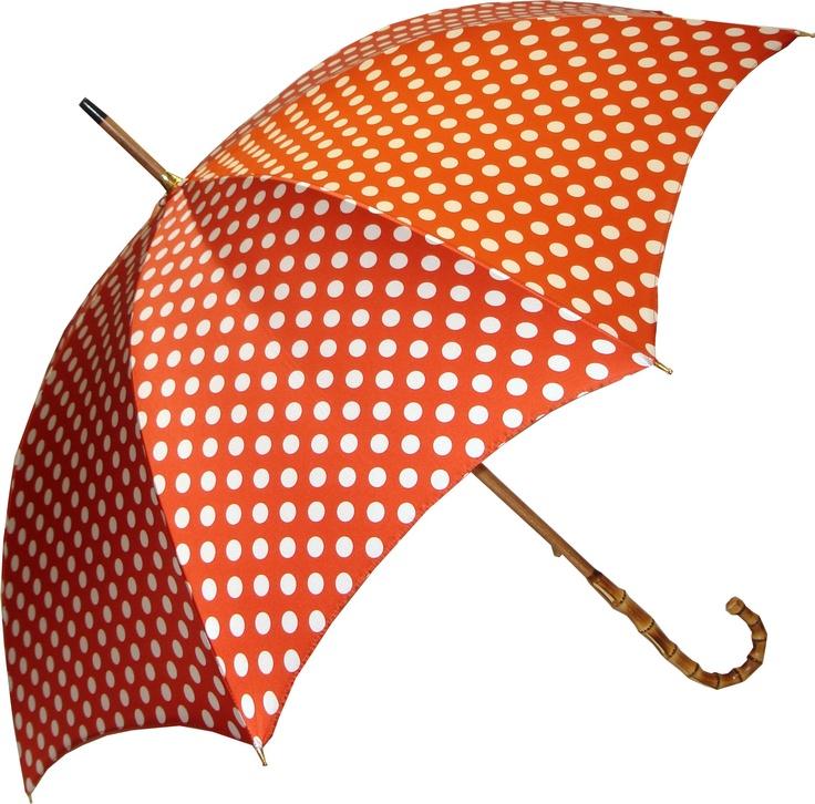 Pasotti Orange Polka Dot Umbrella with Bamboo handle