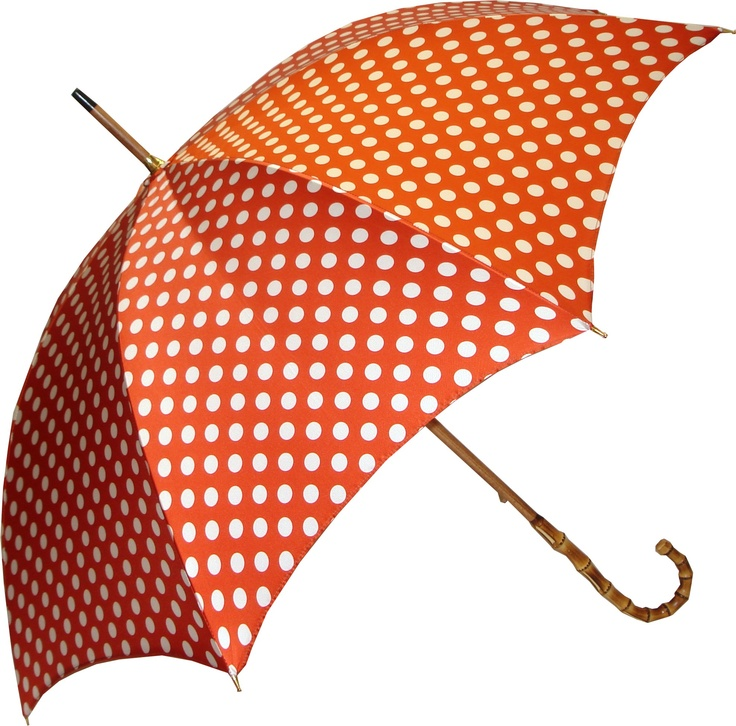 Pasotti Orange Polka Dot Umbrella with Bamboo handle