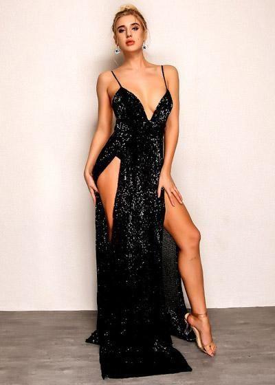 9dee15a04 Compre Vestido Longo Paetês Festa Decotado com Fendas Preto | UFashionShop