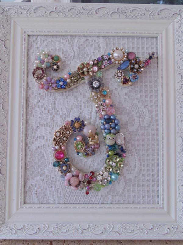 Cottage Shabby Vintage Jewelry Framed Christmas Tree ~INITIAL J ~ Letter