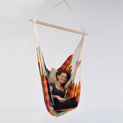 Amazonas Brazil Hammock Chair  You'll forget all about the hustle of everyday life while sitting in this hanging chair.   Spacious and comfortable Adapts beautifully indoors as well as out Wood bar and rope included