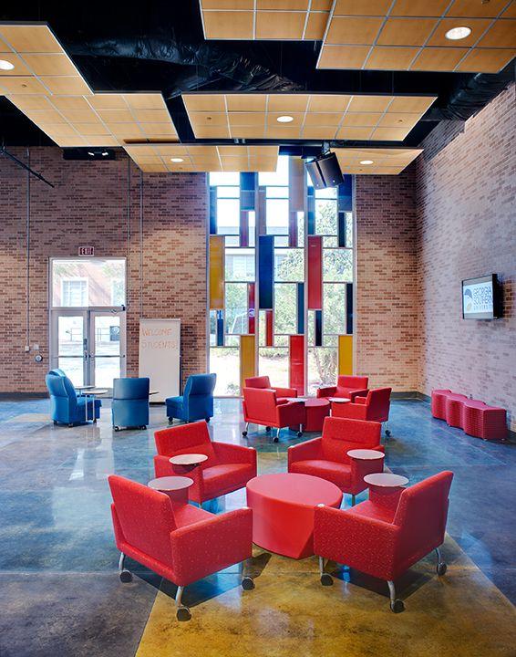 Original Mondrian Like Windows Inspired The Colorful And Modular Interior Of This Student Center Community CollegePreserveEnergy