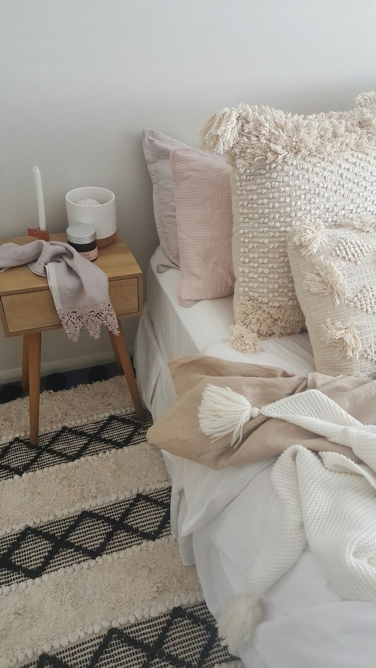 Scandi boho bedroom style Cushions available from thedustypoppy.com