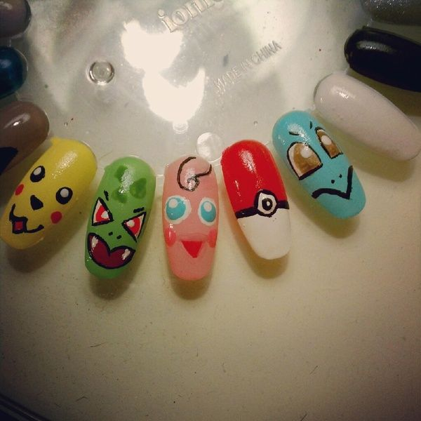 135 best nerd nails images on pinterest make up books and fun nails pokemon nail art prinsesfo Image collections