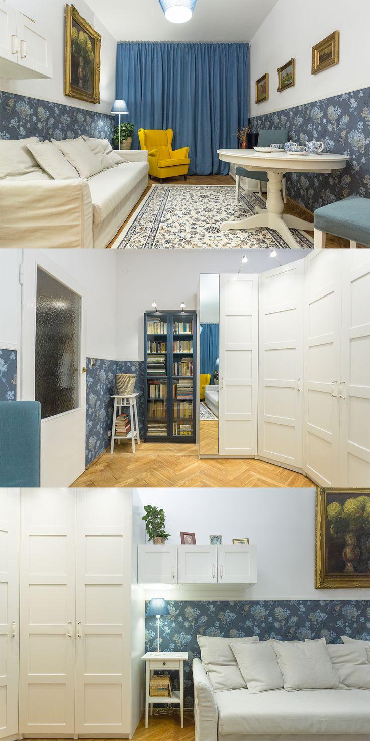 Salon starszej pani, która zawsze marzyła o jasnej i stylowej przestrzeni, w której wyeksponowane zostałyby jej obrazy.