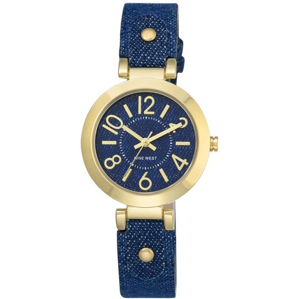 Nine West Women's Blue Denim Strap Watch 32mm Nw-1712DDDM ($49) ❤ liked on Polyvore featuring jewelry, watches, denim, gold-tone watches, nine west, gold tone jewelry, blue watches and nine west jewelry