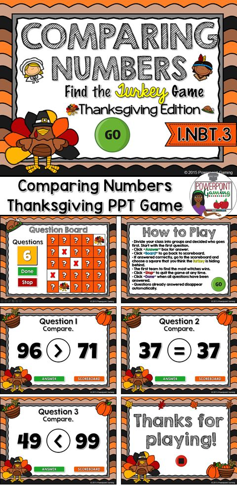 Comparing Numbers Find the Turkey PPT Game