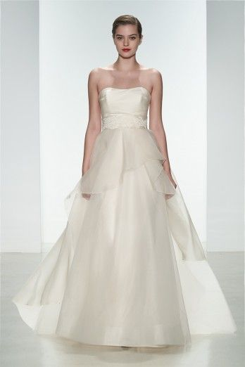 "Amsale Spring 2015 ""Hailee"" gown. Silk organza pink strapless gown with layered organza skirt. #ballgownWedding Dressses, S2015Brd Runway, Bridal Collection, Amsale Spring, 2015 Bridal, Dresses, Lace Applies, Spring 2015, 2015 Collection"