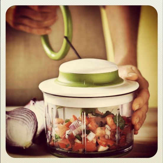The Chef'n VeggiChop is a great tool for campers. Just chuck your veggies in and pull the handle!