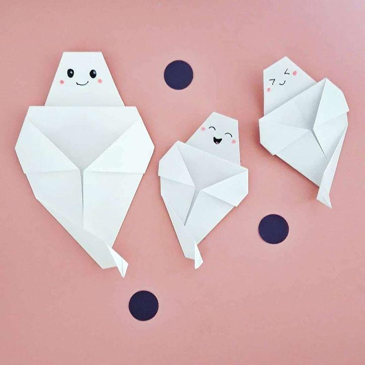 Fantasmitas para Halloween - Origami al alma - Instruções Origami, Origami Videos, Origami Dragon, Paper Crafts Origami, Paper Crafts For Kids, Diy Arts And Crafts, Paper Crafting, Origami Swan, Craft Ideas