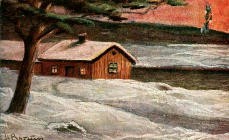 Julekort Julekort A Bruun  Utg J.H.Küenholdt brukt 1920