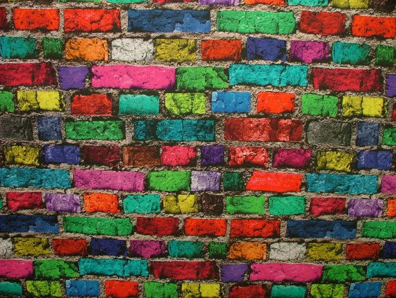 Multi Coloured Brick Wall Photo Digital Printed Full Colour Designer Cotton Curtain Upholstery Fabric - Free UK Postage