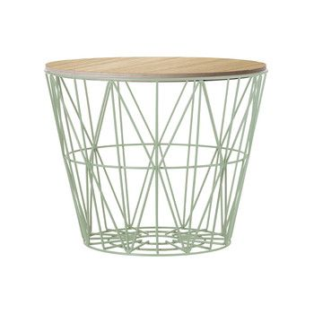 Ferm Living Medium Wire Basket - Mint with Smoked Oak Lid at Amara