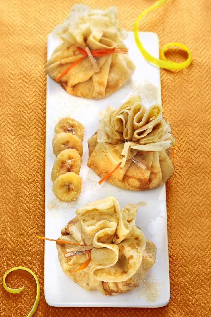 Numéro 52 : Aumonières de crêpes aux bananes roties, citron et cassonade ©S'Cuiz in par Gwen Rassemusse